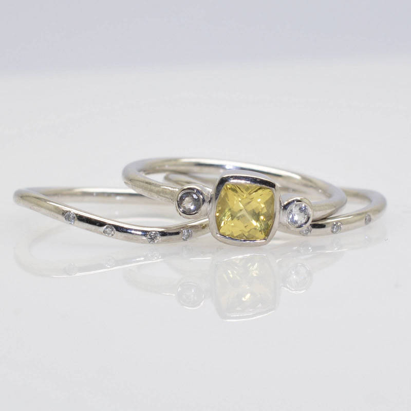 cushion yellow sapphire bezel ring