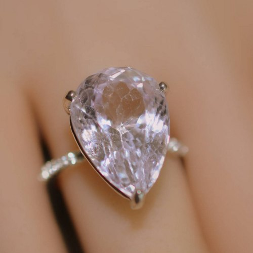 pear shape big kunzite silver ring color