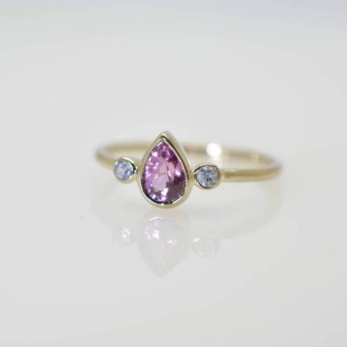pear shape purple 3 stones ring