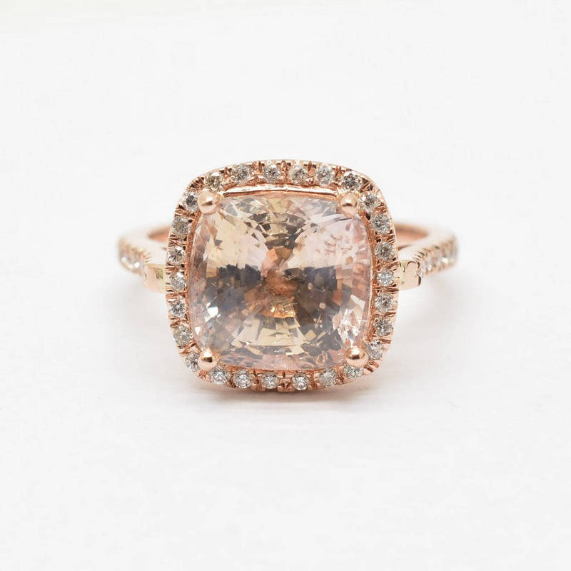 New design 2018 cushion champagne peach sapphire rose gold champagne peach sapphire rose gold engagement ring certified untreated 705 carts junglespirit Images