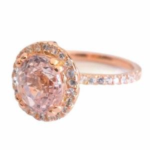 engagement ring peach sapphire
