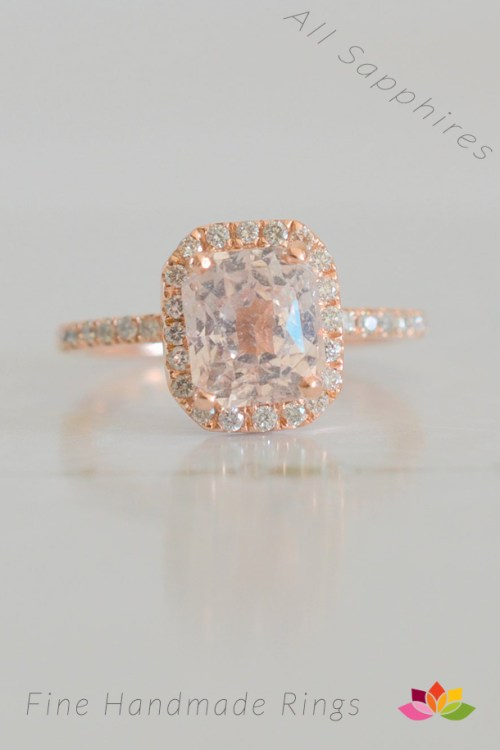rose gold sapphire engagement ring