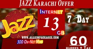 JAZZ KARACHI, HYDERABAD & BADIN HAFTAWAR DATA OFFER