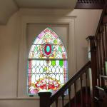 All Souls Church stained glass and stairway