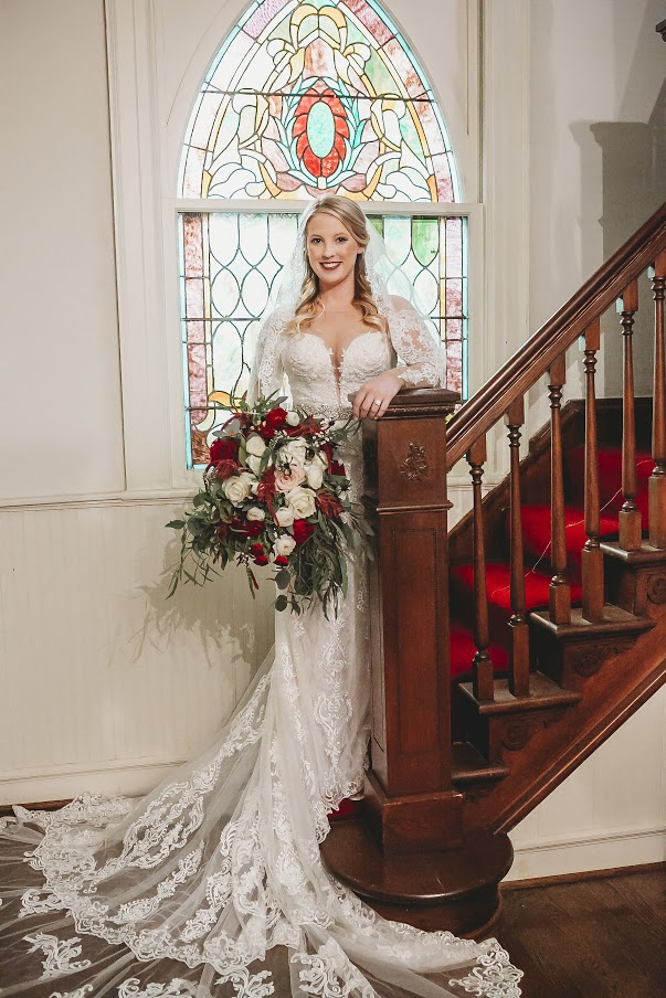 Bride on stairwell at All Souls Church scott Arkansas 2 - Ashley Duncan Photography