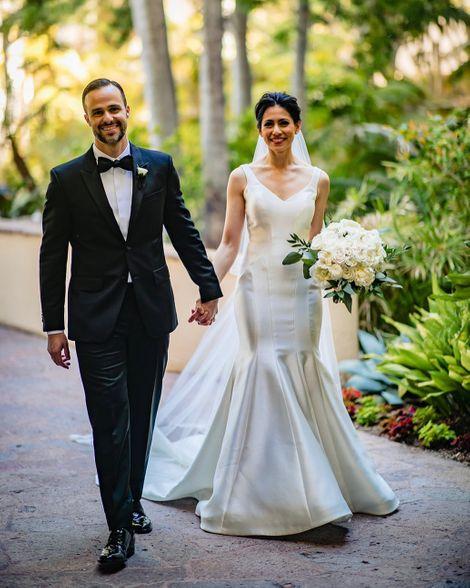 Tracee Carrasco walks down aisle with her husband