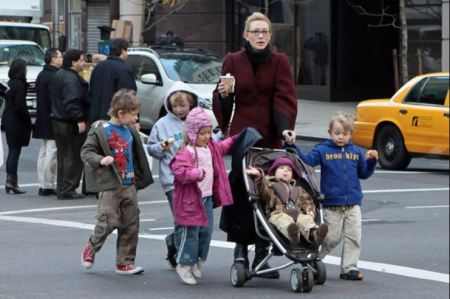 Photo of Cate Blanchett walking in NoHo along with her kids including Dashiell John.