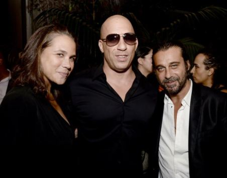 Samantha Vincent with her brother, Vin Diesel and Jordi Molla at the premiere of Riddick at The W Hotel on 28th August 2013, in Los Angeles, California.