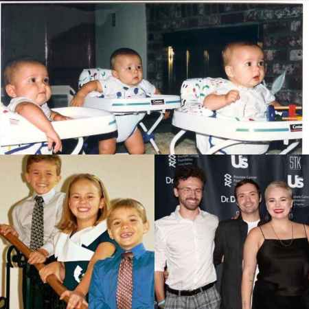 Paulina Marie Pinsky with her brother from childhood to youth age.