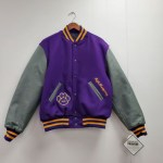 Purple Wool Varsity Jacket with Medium Gray Leather Sleeves; Purple Knit Trim with Light Gold Stripes and Thin Light Oxford Strip