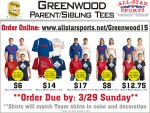 Greenwood Baseball Parent/Sibling TShirt Order