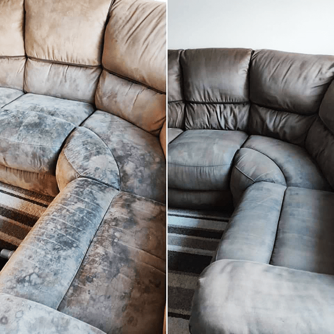 Before and After Citrus Fabric Pre Wash Photo of the Month Alltec Network Upholstery Cleaning Chemicals