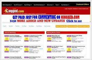 Homepage of Kingged.com - make money online