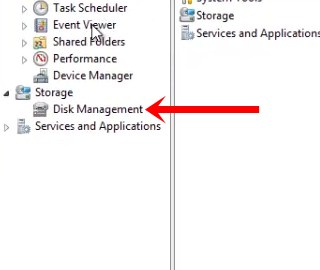 open disk management - create hard disk partition in Windows 7 and Windows 8