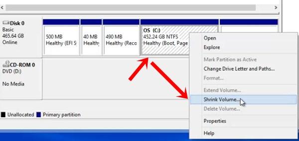shrink volume - create hard disk partition for windows 7/8