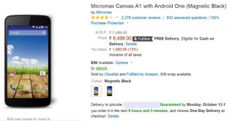 micromax canvas a1 offers during amazon diwali offers, sales, dhamaka week