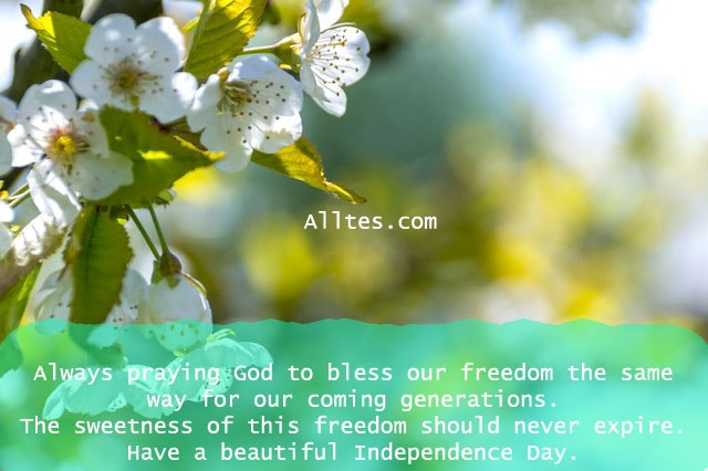 always praying God to bless our freedom