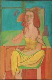 Seated Woman. c. 1940. Oil and charcoal on Masonite. 54 1/16 x 36 inches (137.3 x 91.4cm); Framed: 54 1/16 x 37 3/4 x 2 1/2 inches (137.3 x 95.9 x 6.4 cm). The Albert M. Greenfield and Elizabeth M. Greenfield Collection, 1974. Image licenced to Timothy McCarthy The Willem de Kooning Foundation by Timothy McCarthy Usage : - 2000 X 2000 pixels © The Philadelphia Museum of Art / Art Resource