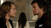 Favorite love triangle (M): Mary, Francis and Bash - Reign. What makes a love triangle great? When you can't pick which couple you should root for! Reign does an excellent job on the love triangle between Mary and half brothers Francis and Bash. It's an impossible choice: marry the French heir Francis, which might cause his death and who is always going to put his country first, or run off with the cheeky very handsome Sebastian (a.k.a. Bash) where you can be yourself around, but is the king's bastard son and the wrong choice for your own country? Sigh. Frary is super cute together, but we get that Mary gets confused after staring too long in Bash's gorgeous blue eyes during a Mash moment.
