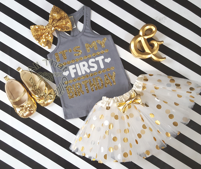 Cute My First One Year Old Birthday Outfits Grey Gold Tutu Sets Baby Girl