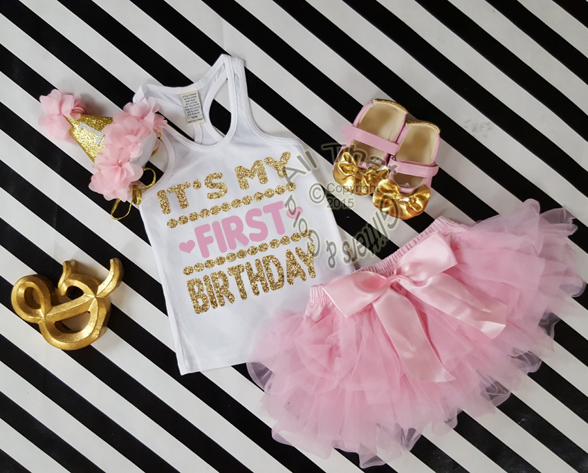 Cute One Year Old Birthday Outfits Pink And Gold Tutu Sets Baby Girl