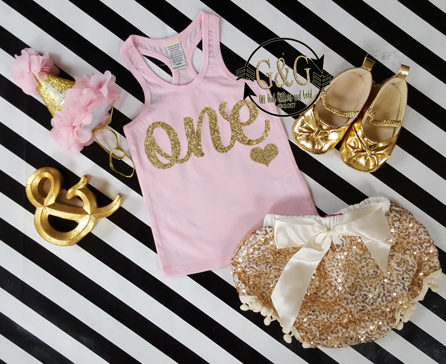 Cute Pink Gold Cursive One 1st Birthday Summer Bloomers Outfits Custom
