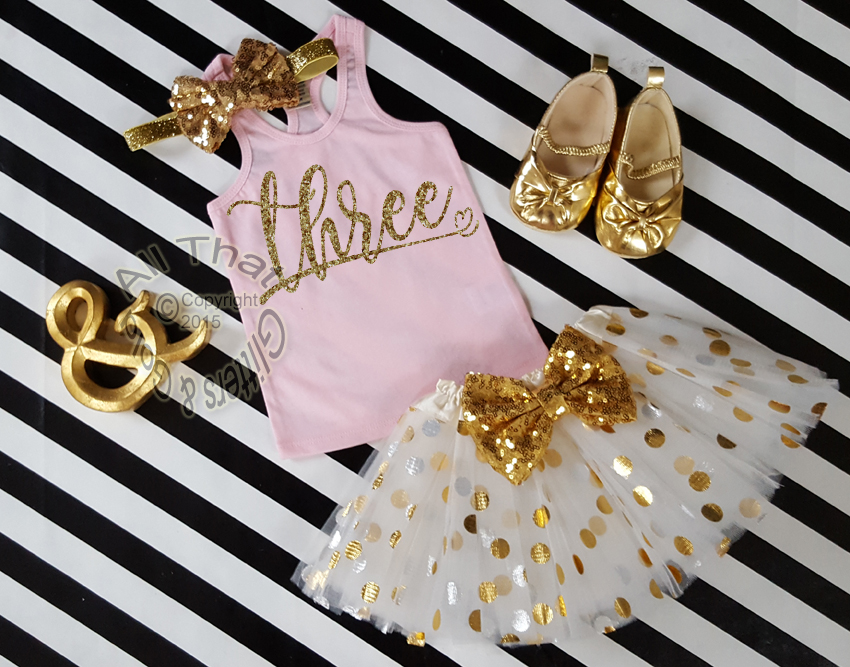 Glitter Birthday Age Tutu Outfits Pink Gold 1st 2nd 3rd 4th 5th 6th