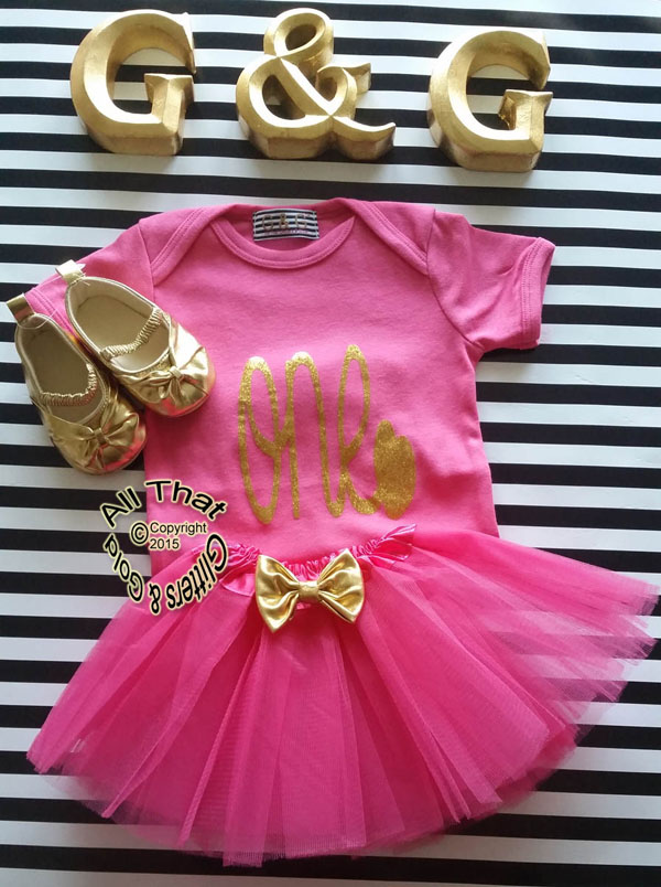 Cute Gold 1st Birthday Outfits Hot Pink And Gold One First Birthday Tutu Outfit