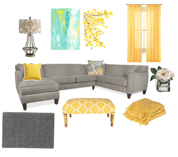 a grey and yellow living room all that glitters