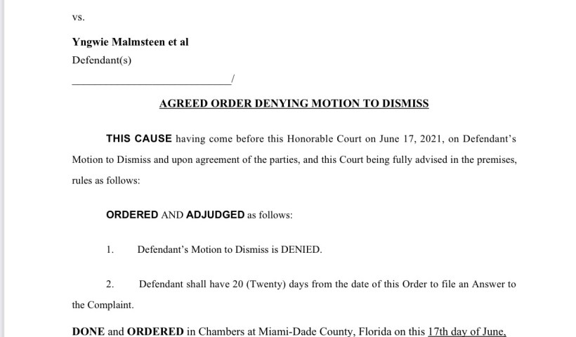 Judge Denies Yngwie Malmsteen's Motion To Dismiss Foreclosure Proceedings On His Miami Shores Home