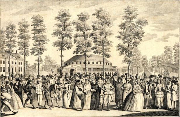 Masquerade Ball In English Gardens