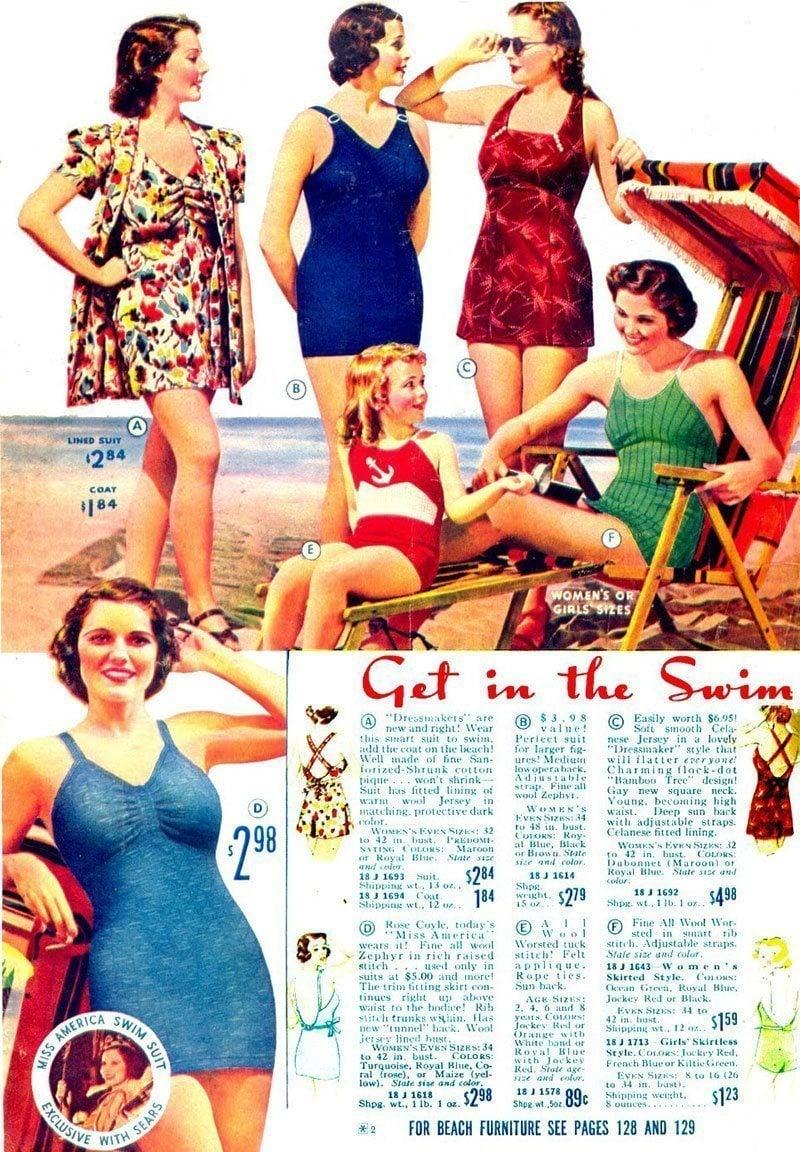 1938 Swimwear Fashions