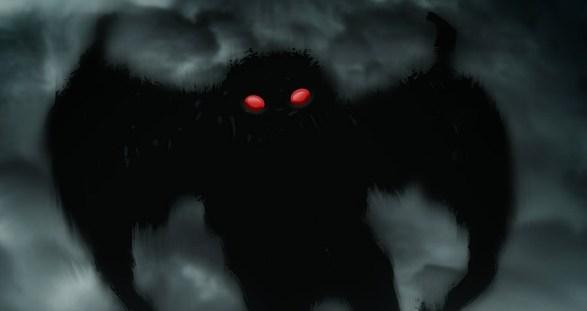 Drawing Mothman Dark Red Eyes Myths Legends