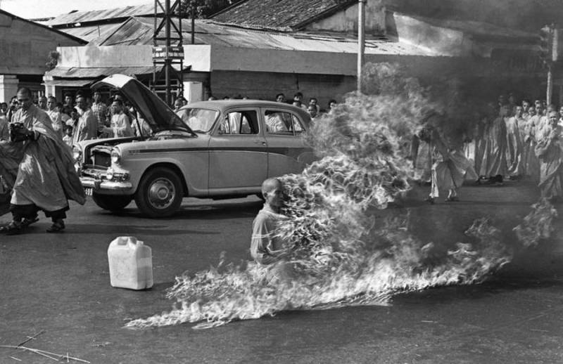 Self-Immolation by Thich Quang Duc during the Buddhist Protest 1963 in South Vietnam