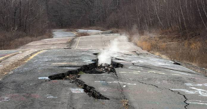 Cracked Centralia Road
