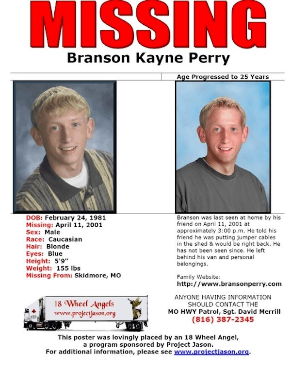 Branson Perry Missing Poster