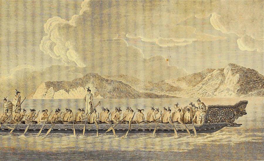 Maori People On Boat