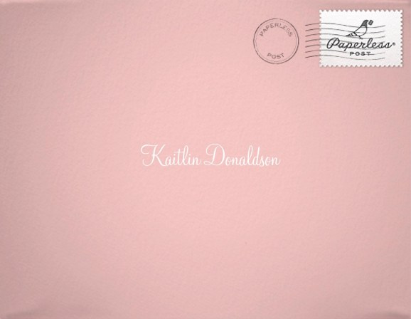Pink exterior envelope with my name on it in white script. This was the save the date invitation for my twenty fifth birthday bash