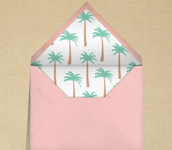 Envelope liner with palm leaves