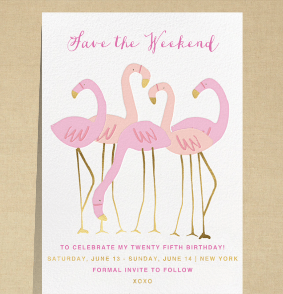 Save the date invitation with pink flamingos and gold and pink writing