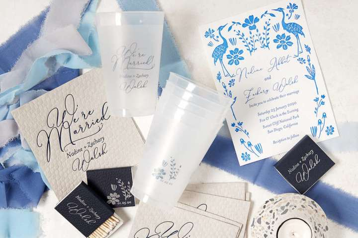 For Your Party is one of my most loved sites for party supplies. Pictured: Blue and white personalized stationery, cups and matches