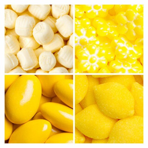 Different types of yellow candy
