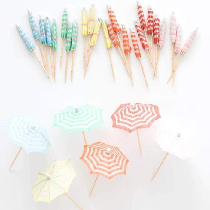 Ellie and Piper is one of my Most Loved sites for Children's Parties. Pictured: Pastel drink umbrellas in blue, green, yellow, orange, red and pink