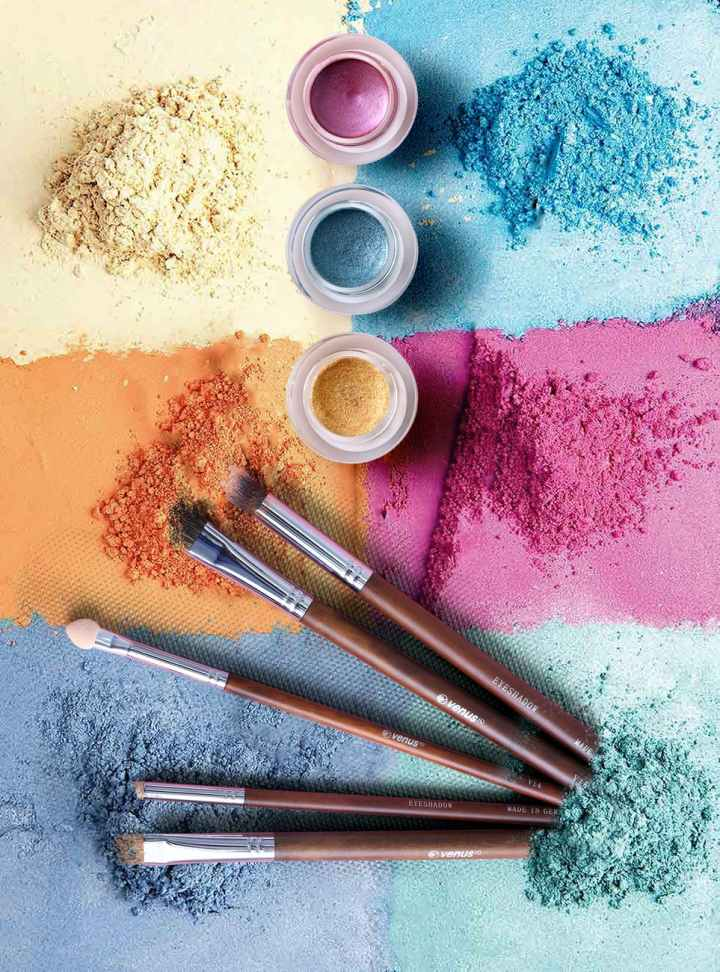 My Event Deck includes concepts like a beauty bar activation, represented by this image of powdered eyeshadows in pink, blue, orange, and purple
