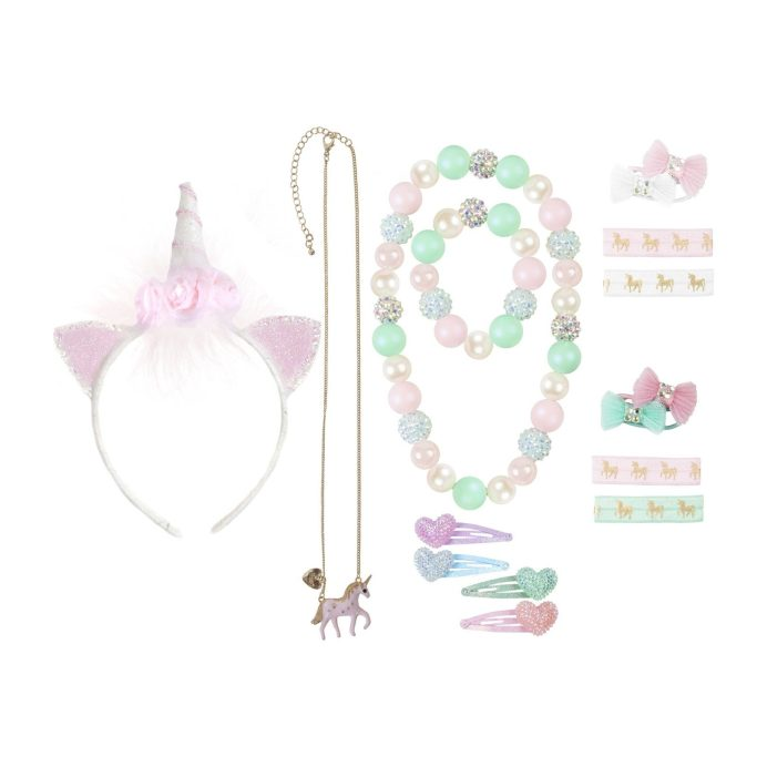 Maisonette is one of my Most Loved Sites for Children's Parties. Pictured: Pink, green, silver and gold unicorn accessory set. Includes headband, necklaces, hair clips, and hair ties