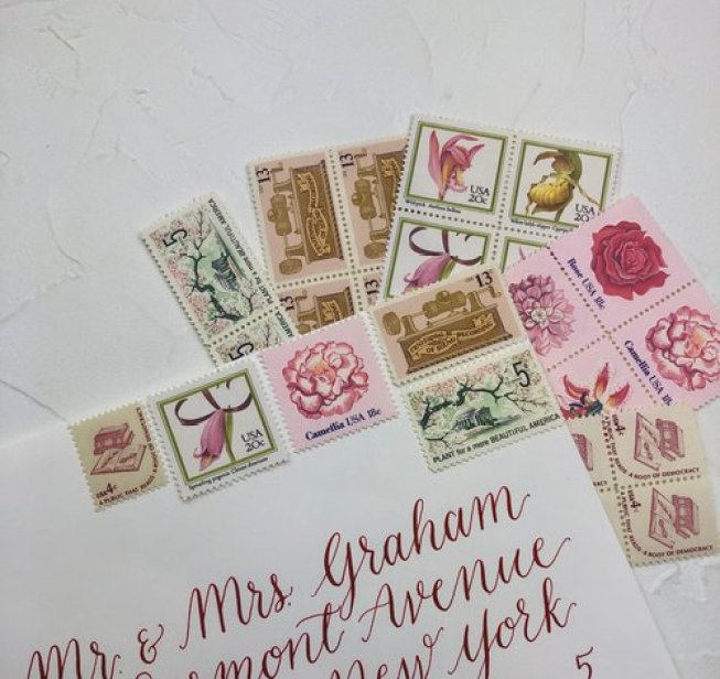 Blossom Curated vintage stamp collection using variations of pink roses and cherry blossom tree stamps from Little Postage House