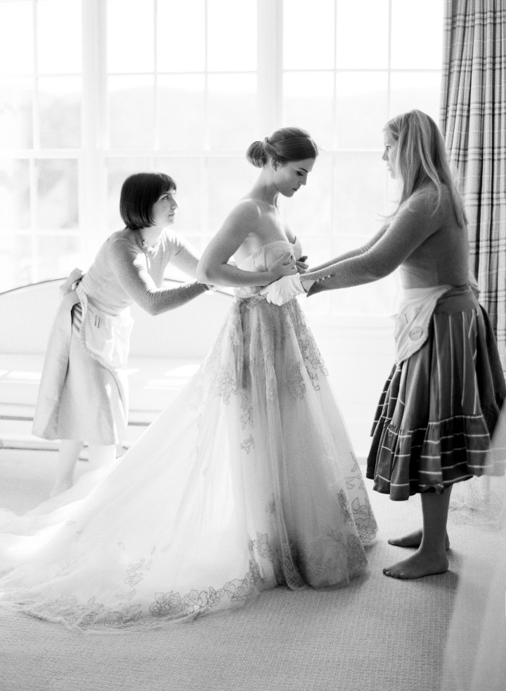 Julie Sabatino, The Stylish Bride, fitting a client for her wedding dress