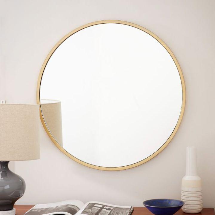 metal framed round mirror apartment decoration