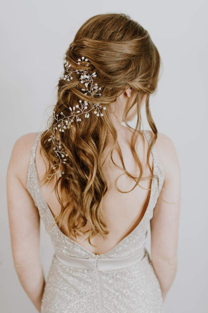 Bride's hair with flowers in it