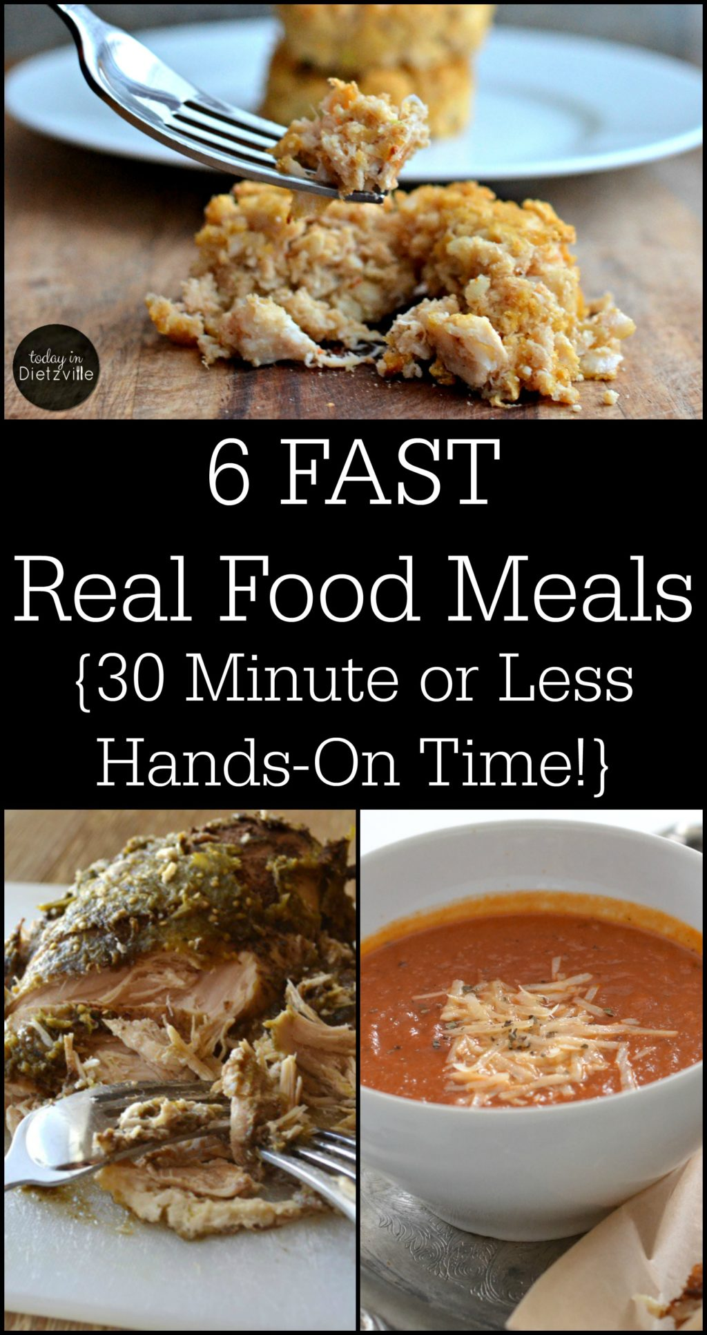 "6 FAST Real Food Meals -- 30 Minutes or Less Hands-On Time! | What if I told you that you could have dinner on the table in less time than it takes to load everyone in the car and go through a drive-thru? It's possible! I've assembled my six favorite, FAST Real Food meals. So grab your favorite menu planning tool (that's pen and paper for me) and jot down these meals for this week! Congratulations! The problem of ""What's for dinner this week?"" is solved. {For you Trim Healthy Mamas, I've included the meal types for each of these meals!} 